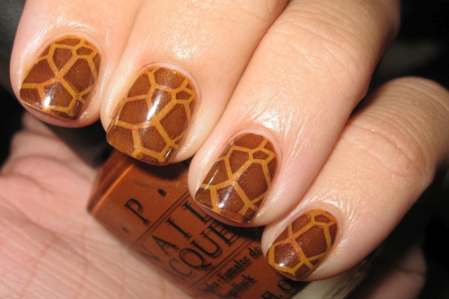 Uñas animal print jirafa